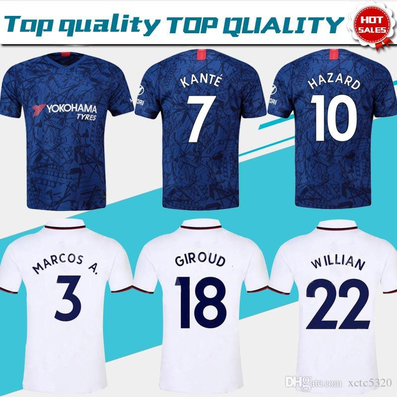 new style 0e377 cbe0a 2019 #10 HAZARD Home Blue Jerseys #7 KANTE #9 HIGUAIN 19/20 New Season Away  White #18 GIROUD #22 WILLIAN League Club football Shirts On Sale