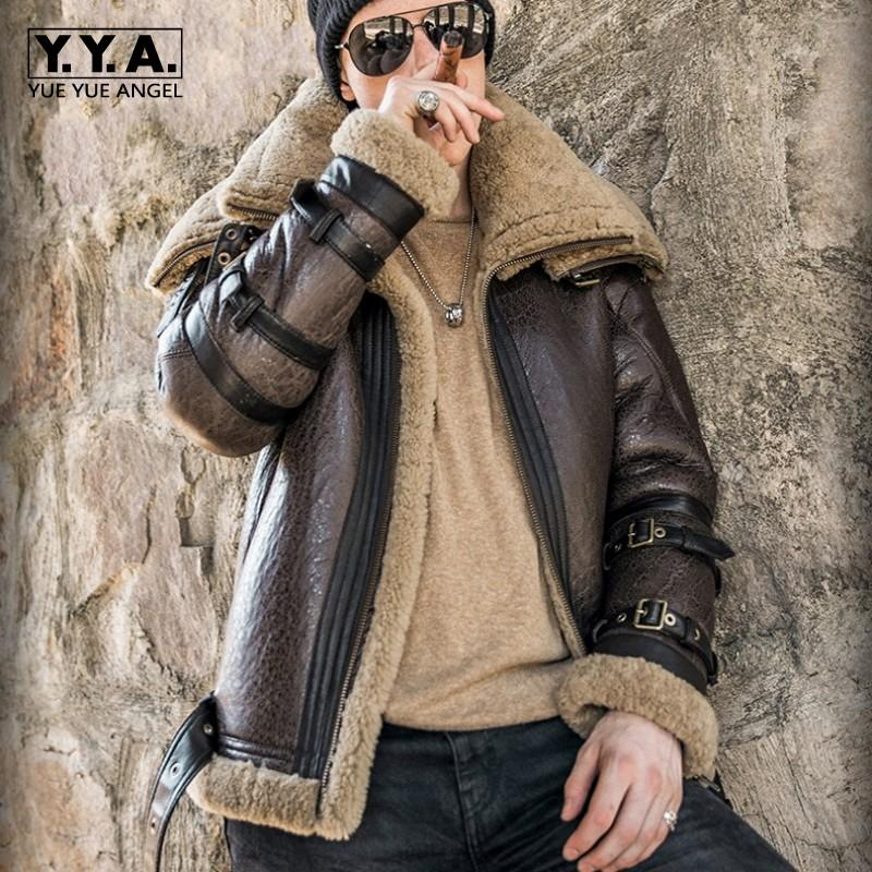b0a5bf7e9 Italy Luxury Men Winter Shearling Real Fur Jacket 6XL Biker Sheepskin  Genuine Leather Coat Thick Warm Fur Lining Jacket