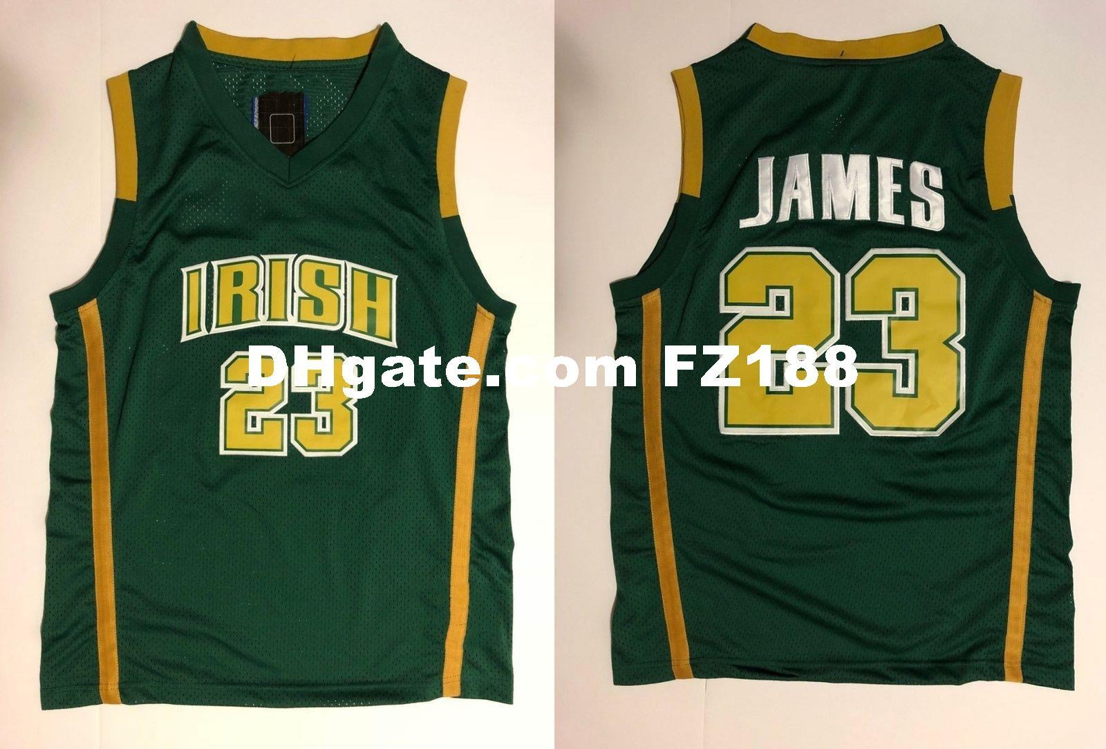 new products 12fa6 4f297 Lebron James #23 SVSM Irish High School Basketball Jersey XS-6XL Green