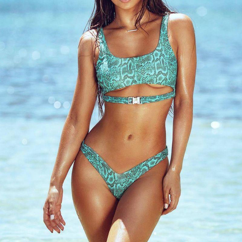 Womens Bikini Set Snakeskin Print Bandage Push-Up Padded Swimwear Badeanzug Sexy High Waist Thong brasilianischen Badeanzug 2019 Neu