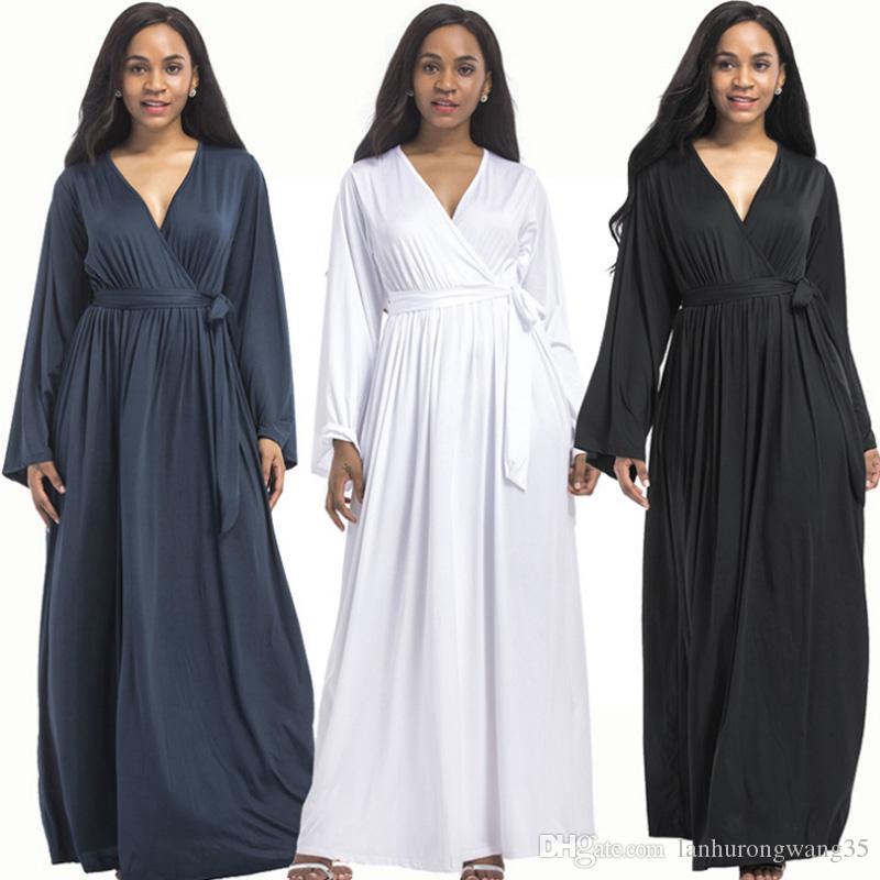 Plus Size Women Clothing 2019 Sexy V Neck Long Sleeve Tunic Party Elegant Maxi  Dress Fat Long Blue Black Vestidos De Fiesta Robe FP3109 Lace Dress Black  ... 319a6cfd2
