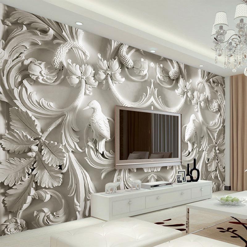 Classico bianco europeo stile sollievo 3D stereoscopico TV sfondo muro  murales soggiorno hotel interni Home Decor Sfondi