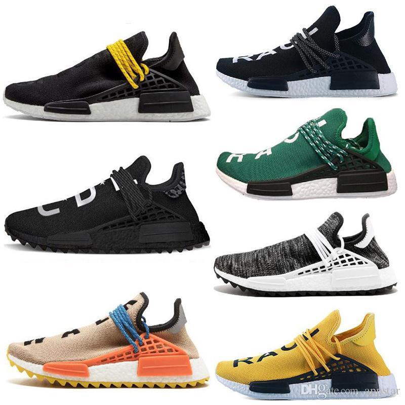 big sale 36e44 060d5 2019 Human Race scarpe da trail running Pharrell Williams Hu runner Nerd  nero Giallo Nero Bianco da donna uomo da ginnastica sportivo sneakers  taglia ...