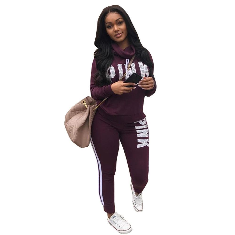 Best Women\\\'S Workout Shoes 2020 2019 Letter Pink Suit Set 2020 Women Tracksuit Two Piece Sport