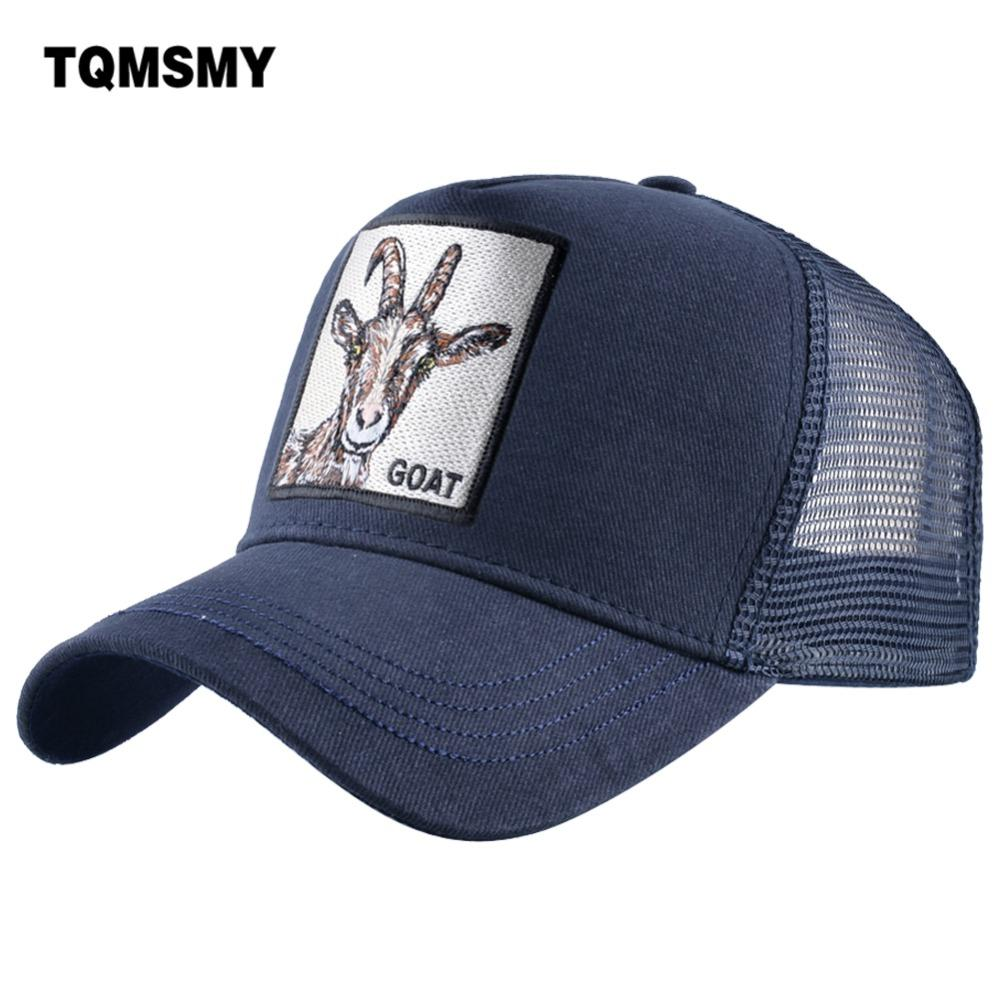 c4d4cb858f2 TQMSMY Summer Men Casual Baseball Cap Embroidery Goat Cotton Mesh Hats For  Women Snapback Animal Trucker Hats Hip Hop Caps DHSY Trucker Hats Flexfit  From ...