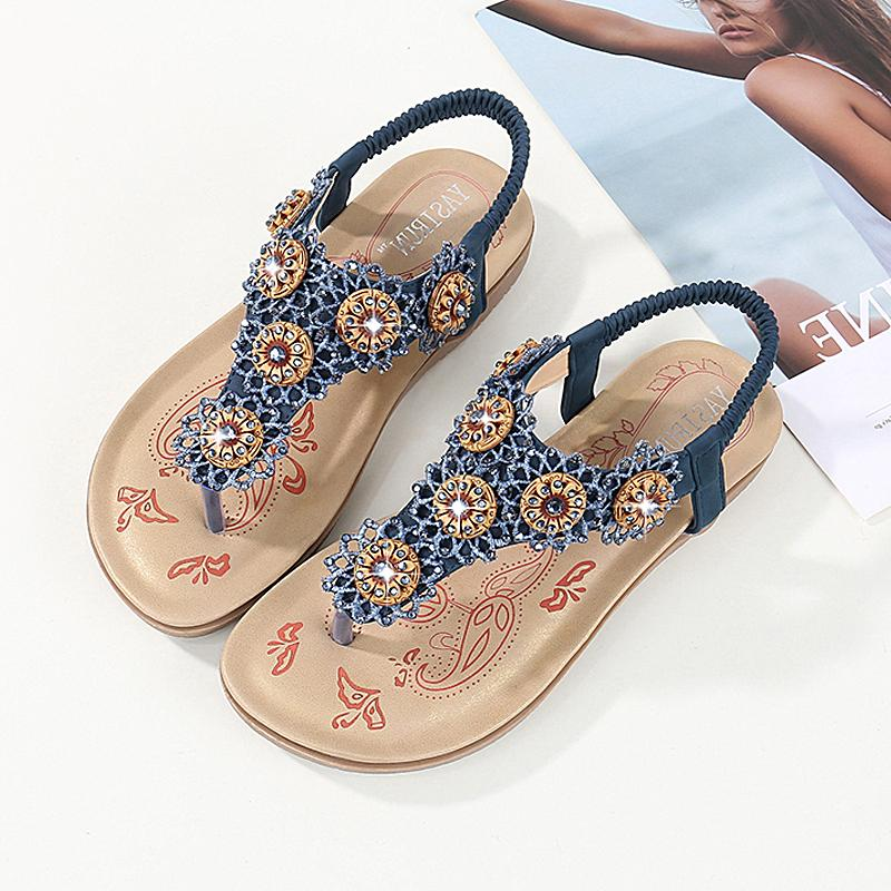 9cedafd7867 Women Shoes 2019 Fashion Women Sandals Bohemian Diamond Flat Sandals Woman Slippers  Flip Flops Beach Shoes Woman Sandalie Female Gladiator Sandals Wedding ...