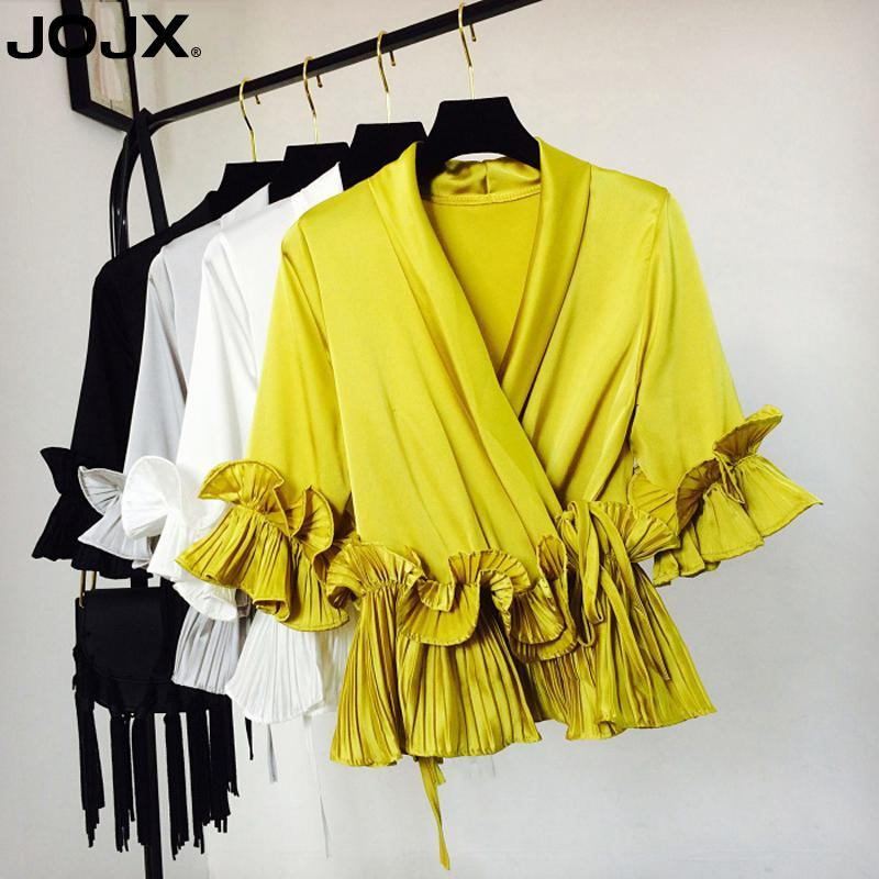 JOJX Solid Ruffles Patchwork Mujer Womens Tops and Blouse 2019 New V-Neck Chiffon Sashes Shirts Female Women Clothing