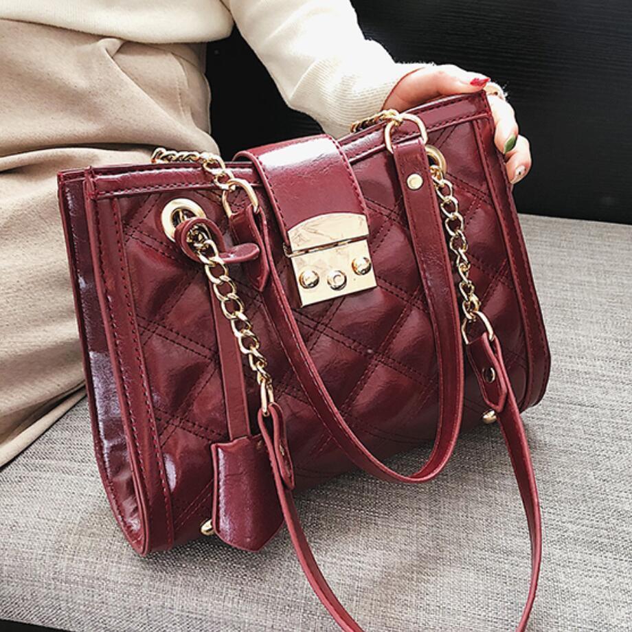 8c89bb1f0b European Retro Fashion Lady Tote Bag 2019 New Quality Bright Pu Leather  Women S Designer Handbag Chain Shoulder Messenger Bags Satchel Laptop Bags  From ...