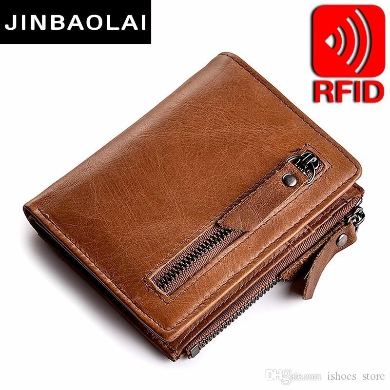 9a3818279e209 Genuine Leather Mens Wallet Clutch Male Vintage Hasp Slim RFID Wallet Short  Coin Purse Men Card Holder Clamp For Money Wallets  160209 Hobo  International ...