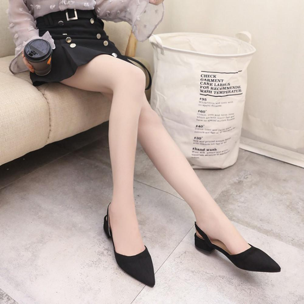 2019 Women Pumps Ankle Strap Thick Heel Pointed Toe Cheap Low Heels