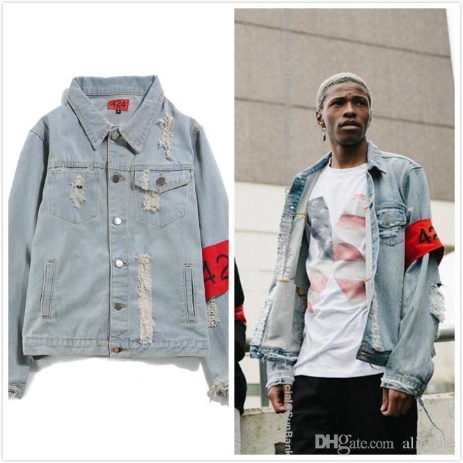 7fcb5f004c4 424 Men's Fashion Hole Pure Blue Denim Jacket FourTwoFour Teen Loose  Hip-hop Style Jacket Asian Size M-2XL