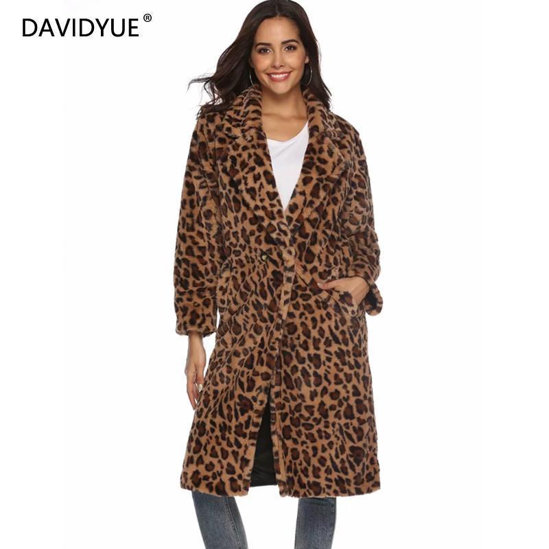 alta calidad gran venta de liquidación pero no vulgar Abrigo de piel con estampado de leopardo de invierno Abrigos largos de  mujer, talla grande, manga larga, grueso, cálido, chaqueta de piel,  bolsillo ...