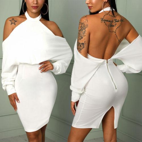 Sexy Dos Nu Parti Zip Femmes Dames Nouvellement Robe Épaule Mini Moulante Halter Robes Élégante Ip N0nXwkOP8