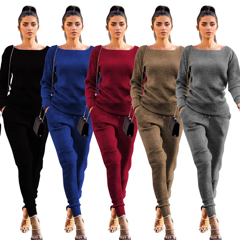 18e9439359d4 2019 New Autumn Winter Women's Loungewear Tracksuit Two Piece Sets Long  Sleeve Casual Ribbed Sweatshirt + Pant Sweat Suits for Women