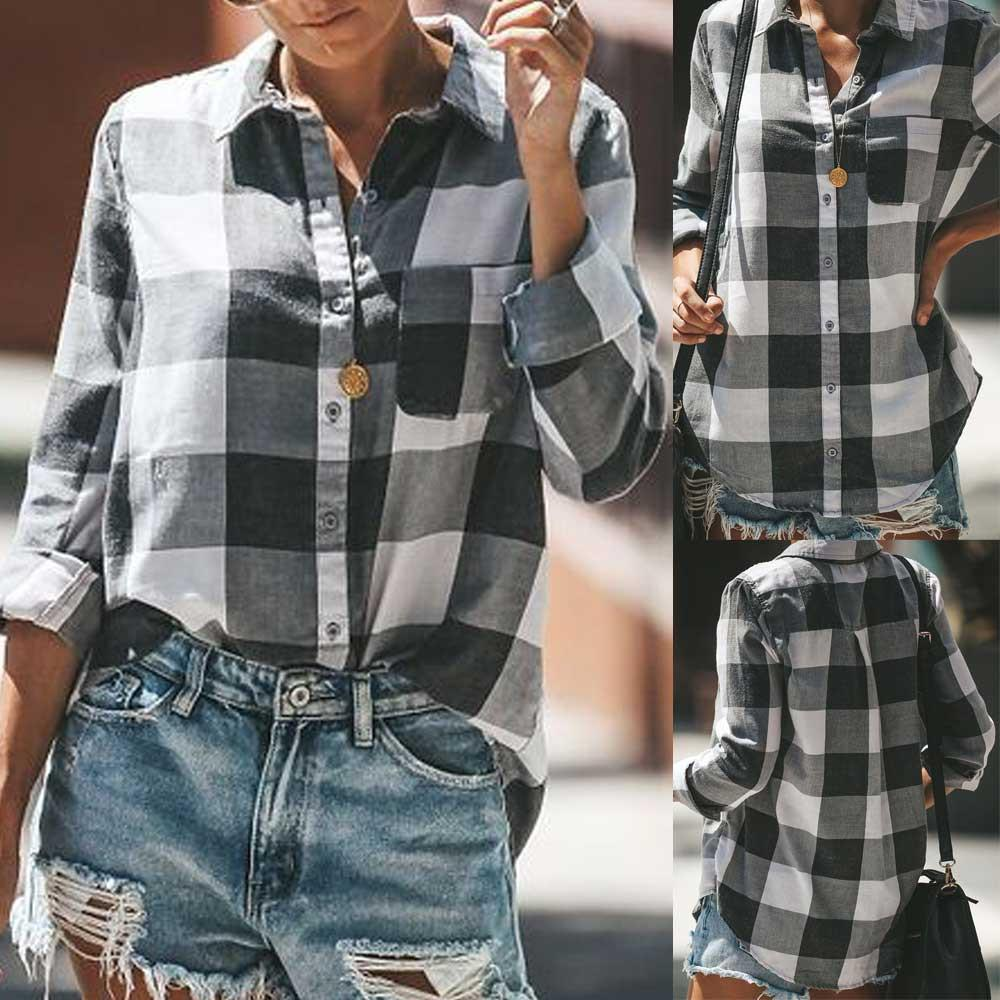 Blouses & Shirts 2 Color Fashion Women Casual Loose Tops Blouses Lattice Shirt Top Vintage Plaid Long Sleeve Shirts Blusas Mujer De Moda Low Price