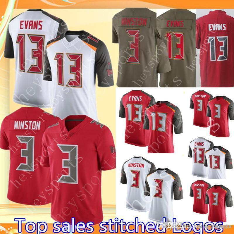 newest 6353b 2f1a0 Mens 3 Jameis Winston Tampa Bay Buccaneer 13 Mike Evans Jersey Cheap  Football Jerseys Red White Elite Limited