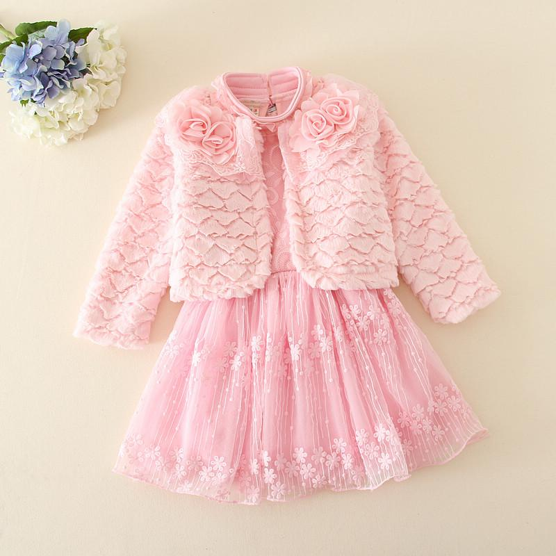 c97e0521e855 Winter Girl Dress Girl's Flower Clothes Baby Girl Party Dress+Coat 2pcs  Kids Wear Children Clothing Outfits Pink Color