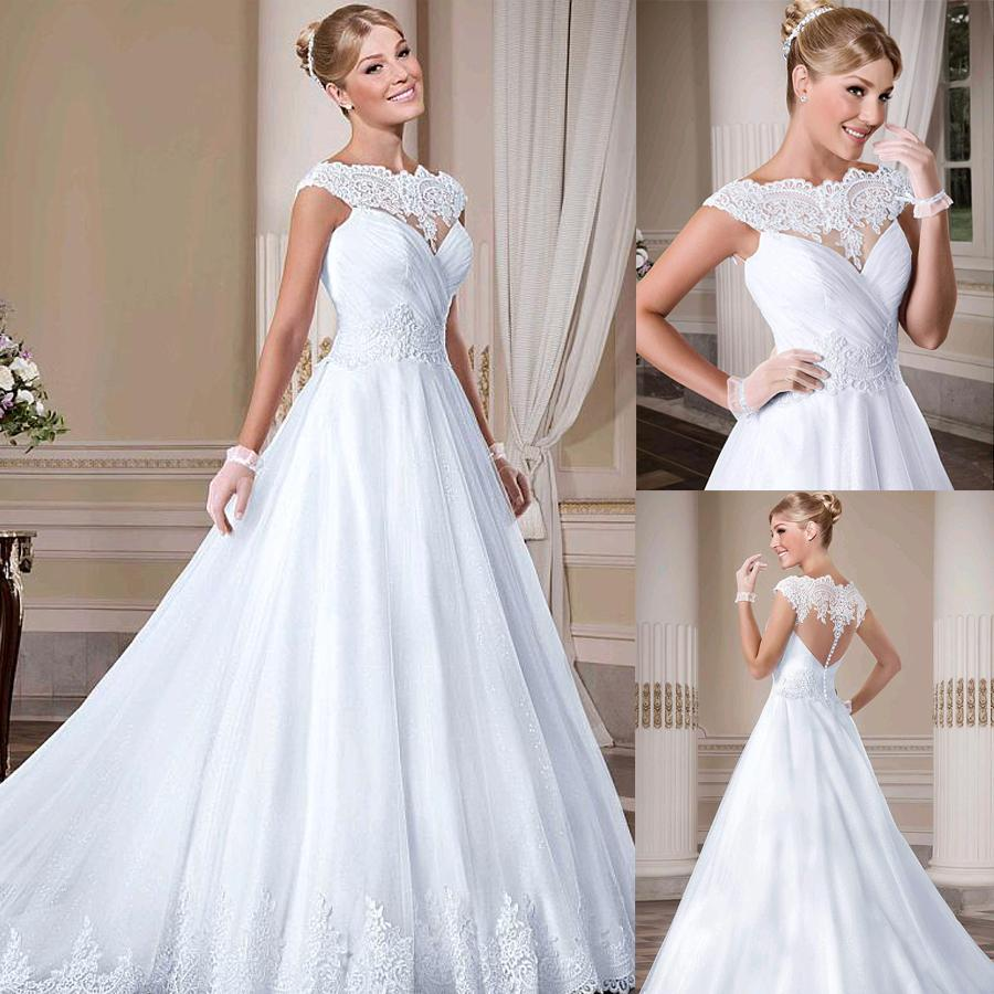 10ef4547138 Discount Amazing Tulle Bateau Neckline A Line Wedding Dresses With Lace Appliques  Sleeveless Illusion Back Bridal Dress Vestidos De Novia Wedding Dresses ...