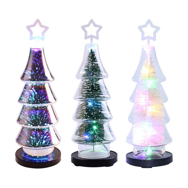 3d Colorful Glass Mini Christmas Tree Decorations Lights Glass Lamp