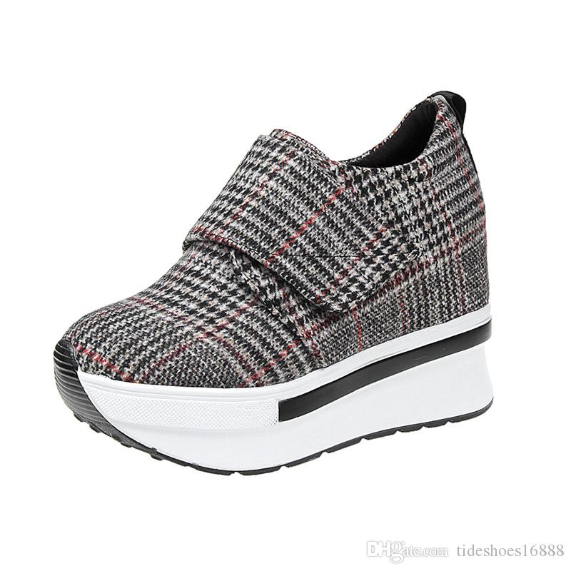 b33cb360c4703 Hidden Heel 10CM Platform Sneaker Gingham Women Casual Shoes Sneakers  Platforma 2019 Hot Sale Fashion Sneaker Woman Shallow Loafers Shoes Online  Basketball ...