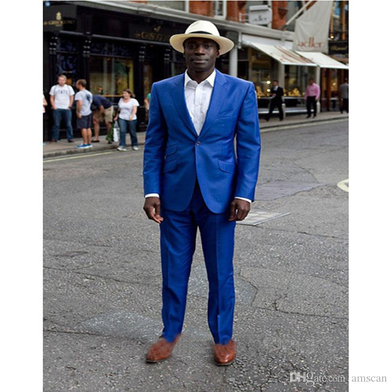 2019 New Beach Style Groom Blazers Royal Blue One Button Men Dress suit Terno Masculino Formal Wedding Mens Suits (Jacket+Pants) YM