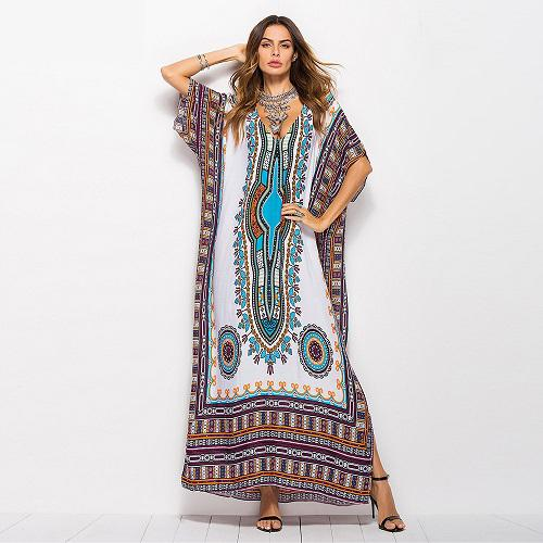 Female Dress Robe Beach Dress Printed V-neck Bat Sleeve National style Lace-Up Ankle-Length Flora Printed Dress 32
