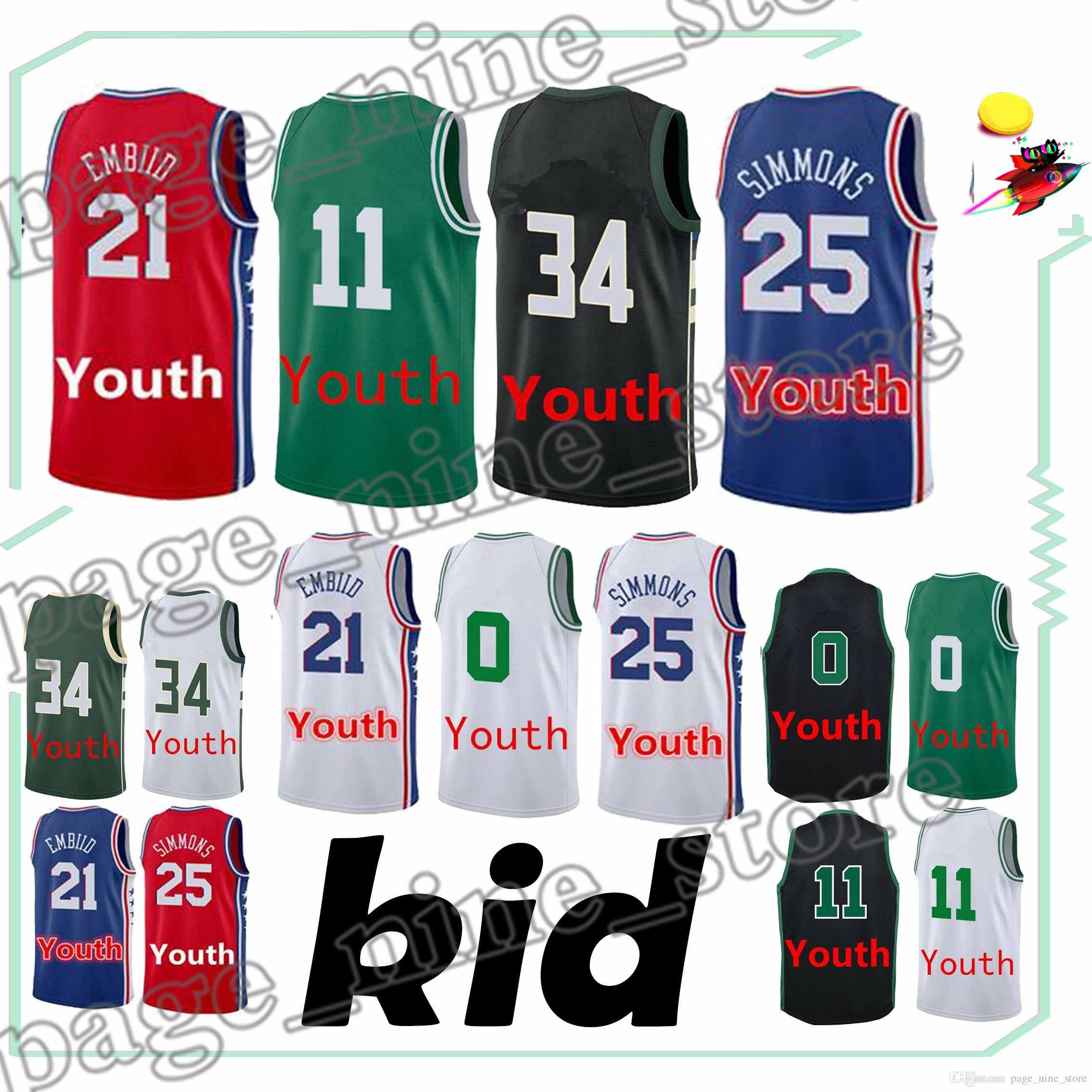 e6f9d54e5abc ... wholesale 2019 youth basketball jerseys 21 joel 25 ben simmons 11 kyrie  irving 0 jayson tatum