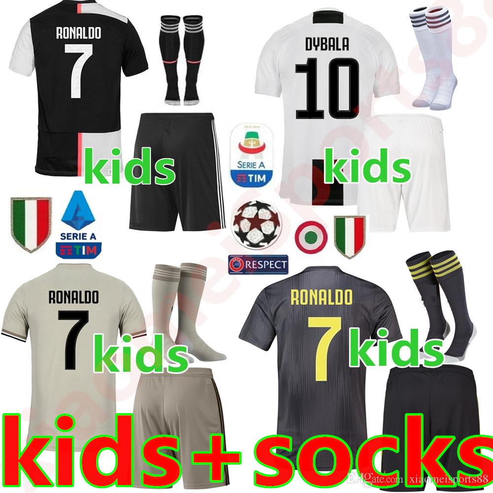 low priced dcde1 59338 Juventus soccer Jersey kids Kit 19 20 juve RONALDO DYBALA HIGUAIN DANI  ALVES PJANIC Marchisio child 2019 Football Shirt uniforms