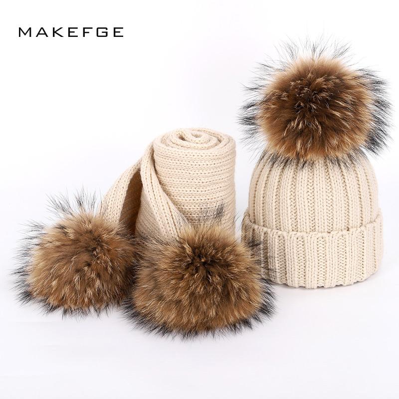 91302a1f7eb Autumn And Winter Women s Knitted Cotton Hats Warm Raccoon Fur Pom ...
