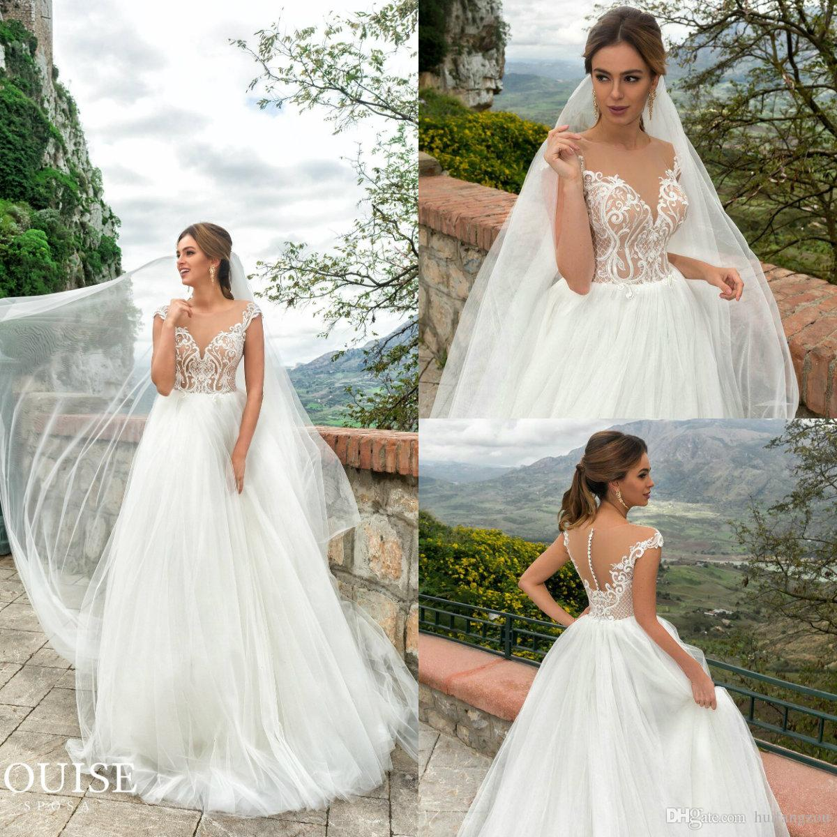 c8369580be7 Simple Camo Wedding Dresses Sheer Jewel Neck A Line Cheap Plus Size ...
