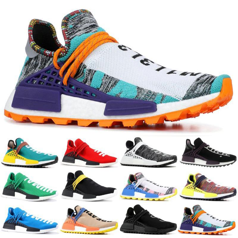 the best attitude 498f5 11126 NMD Human Race Trail Mens Running Shoes Women Pharrell Williams HU Runner  Yellow Black White Blue Designer Sports Sneaker
