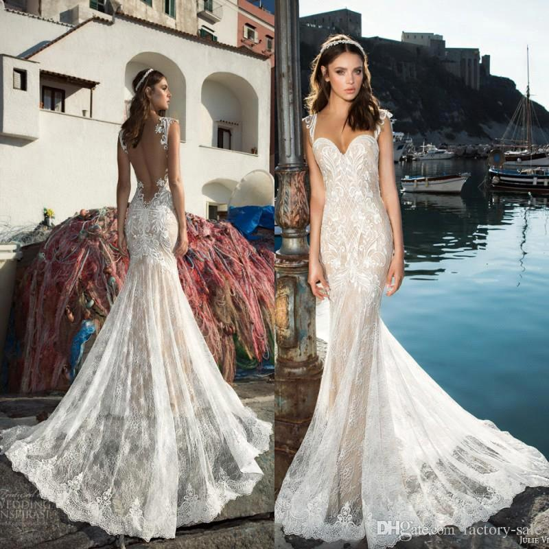 68618633395 New Design 2019 Vintage Julie Vino Mermaid Wedding Dresses Lace Sexy  Spaghetti Straps Illusion Back Champagne Lining Custom Made Bridal Gown  Cheap Wedding ...
