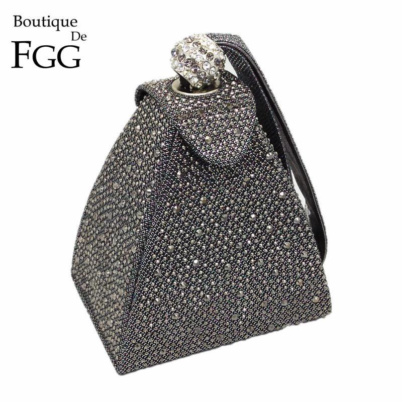 Vintage Diamond Bridal Wedding Purse Mini Gray Pyramid Party Handbags Women Bag Wristlets Clutches Crystal Evening Clutch Bags MX190819