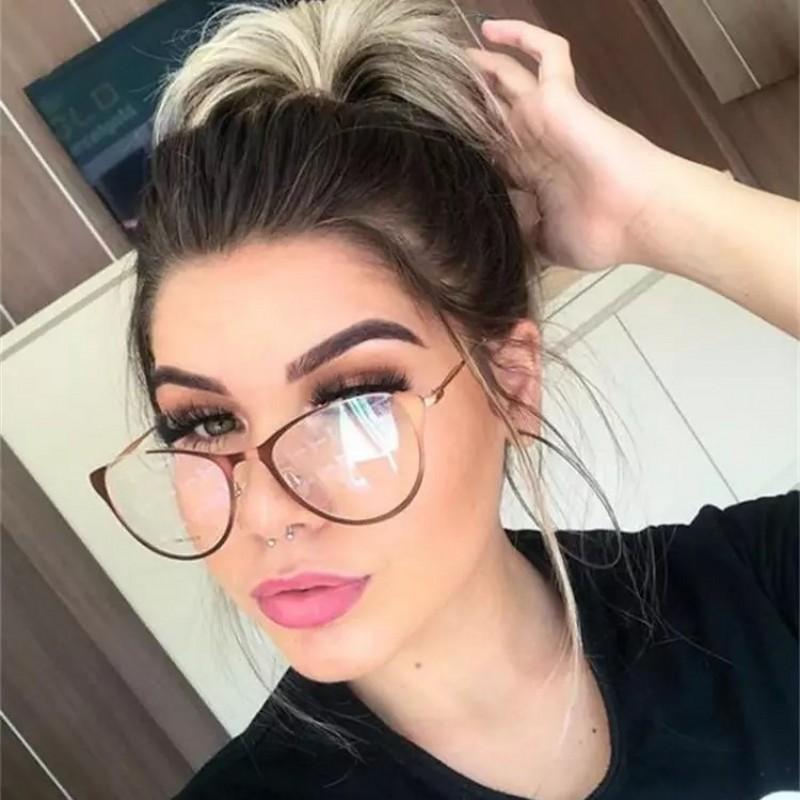acc75a2ab Compre Senhoras Armações De Óculos De Olho De Gato Para As Mulheres De  Metal Sexy Metade Quadro Cateye Marca Designer Optical EyeGlasses Moda  Eyewear De ...