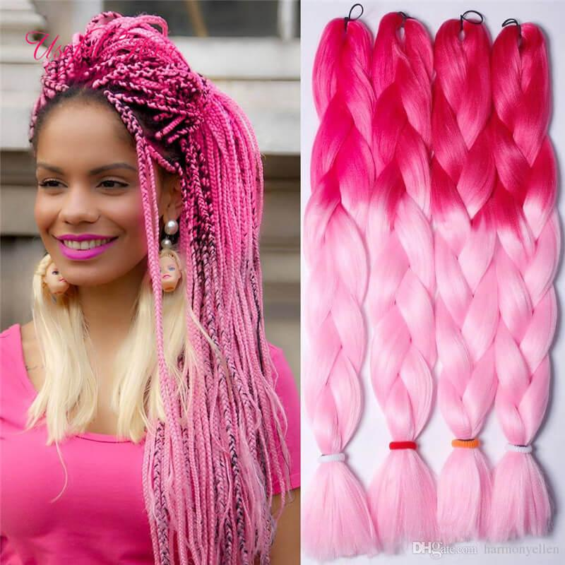 Xpression braiding hair synthetic hair weave JUMBO BRAIDS bulks extension cheveux 24inch ombre blue blonde grey color crochet pink hair