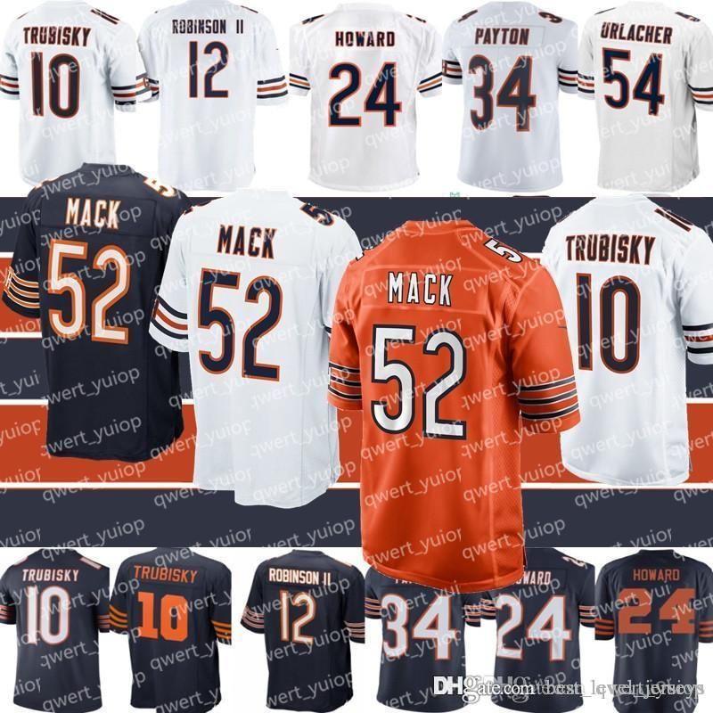 2b396881e6566 2019 52 Khalil Mack Chicago Bear Football Jersey 10 Mitchell Trubisky 54  Brian Urlacher 34 Walter Payton 58 Roquan Smith From Best_level_jerseys, ...