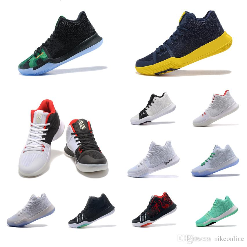Cheap New Mens Kyrie Irving 3 basketball shoes Green Glow White Gold Navy Yellow Black Red sneakers boots tennis with box for sale