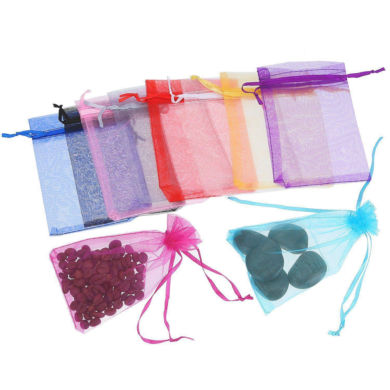 50 pièces 4 par 6 pouces sacs en organza cadeau sacs à bijoux de cordon sac de faveur de fête de mariage multicolore