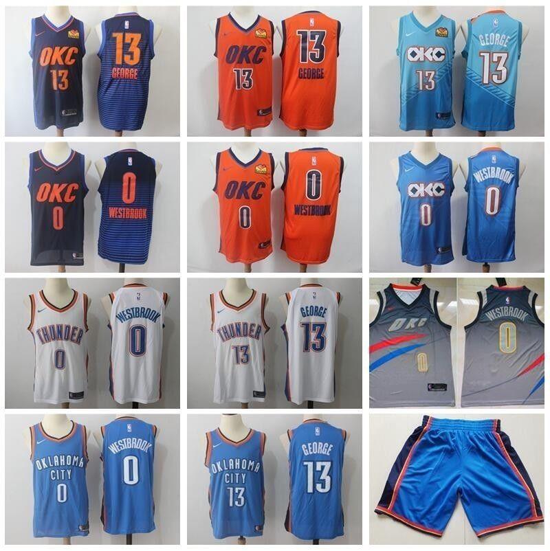 100% authentic e9ceb f67b3 Thunder City Earned Edition Russell Westbrook Jerseys 0 Men Basketball Paul  George Jersey 13 Steven Adams Short Blue White Orange Love