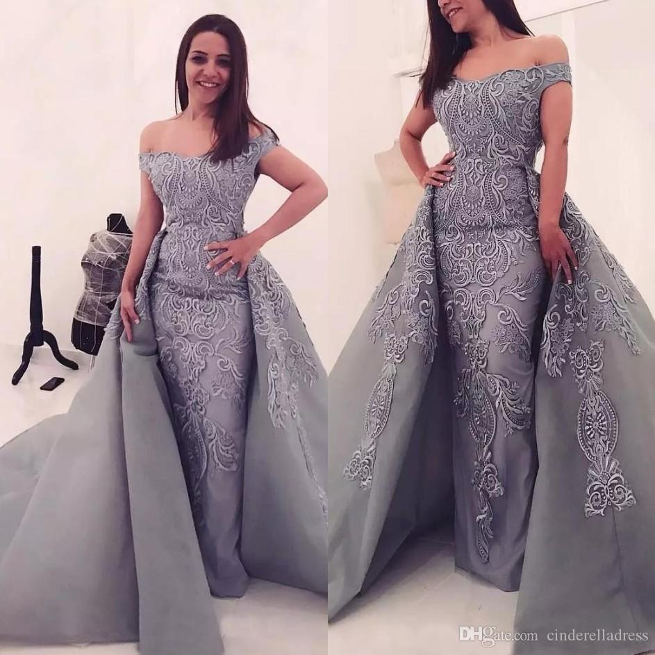 13864cb5b845 2019 Modest Silver Mermaid Evening Dresses Off Shoulder Illusion Lace  Applique With Detachable Train Arabic Prom Pageant Formal Party Gowns Ugly  Prom ...