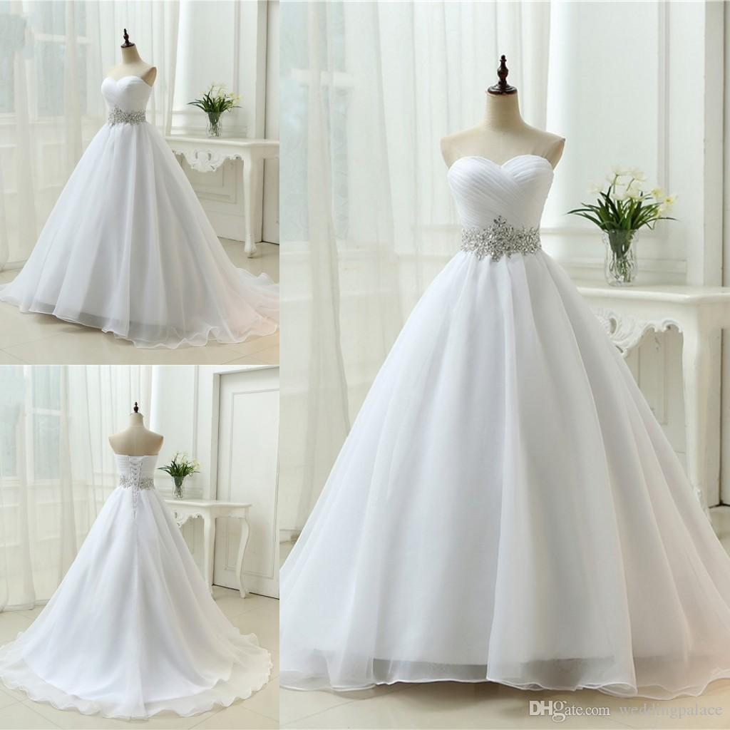 White Sweetheart Beck A-line Wedding Dresses Organza Lace Up Back Sweep Train Princess Simple Bride Bridal Dress Gown Wedding Gowns