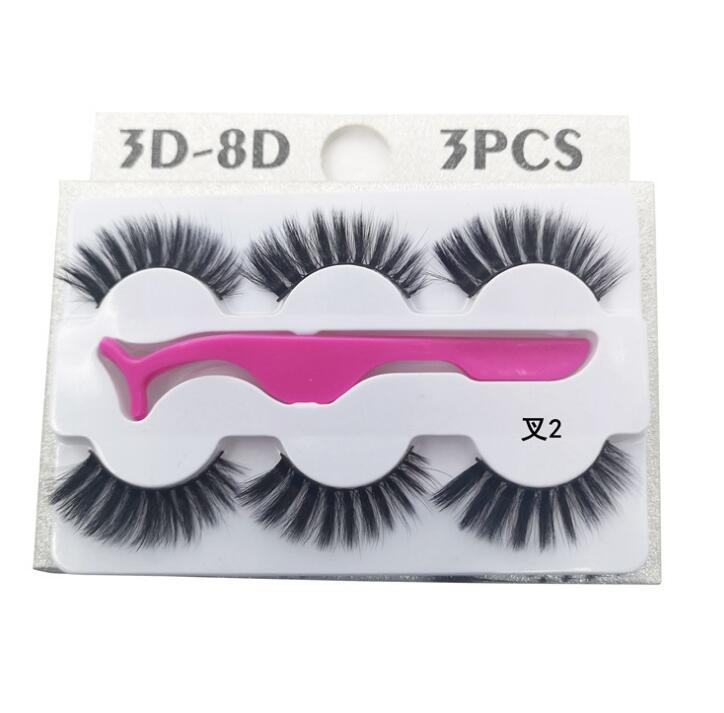 3 Pairs Faux Mink Eyelash With Tweezers 3 pairs Eyelash With 1 pc Tweezer Set Lash for Eyes Makeup Resueable Hand Made Eyelash