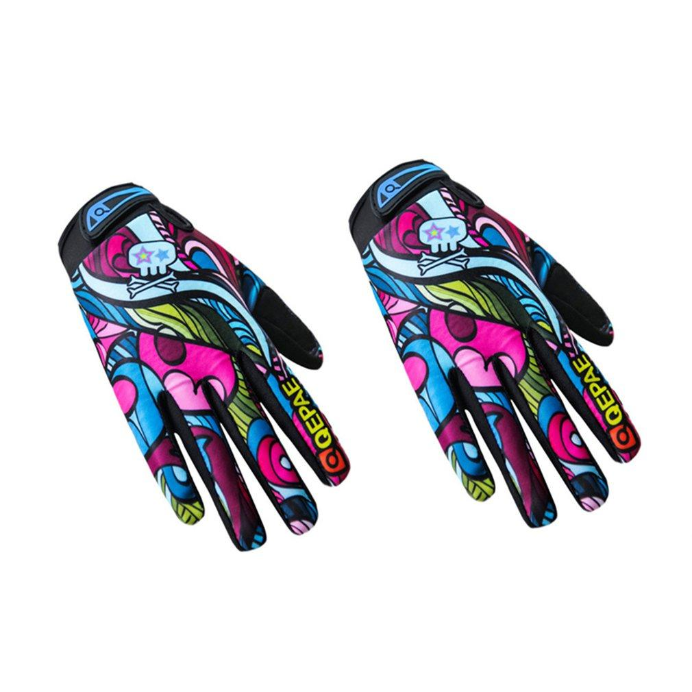 2018 Fashion Print Full Finger Cycling Motorcycle Gloves Slip Resistance Bike Bicycle Gloves Outdoor Sports