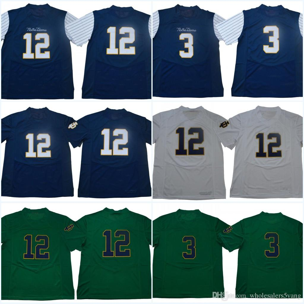 5f9d8470879 2019  12 Ian Book Blue White Green Notre Dame Fighting Irish  3 Montana College  Jerseys 2018 New Style Stitched Jerseys From Wholesalers5yang