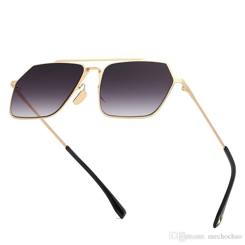 3ff229f5ae Compre Nueva Moda 2019, Gafas De Sol De Alta Calidad, Gafas De Sol,  Polígonos De Metal, Gafas De Sol Para Hombres Y Mujeres Con Marcos Dorados  Y Rebanadas ...