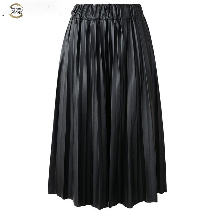 2019 Winter Ladies Black Pu Faux Leather Skirts Midi Pleated High Waist Vintage Basic Mid-calf Women Longa Saia S1927