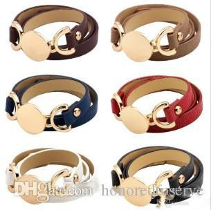 6 Colors New Style Monogram Leather Bracelet Hottest Sale Trendy With Blank Disc Multiple Wrap Leather Bracelet