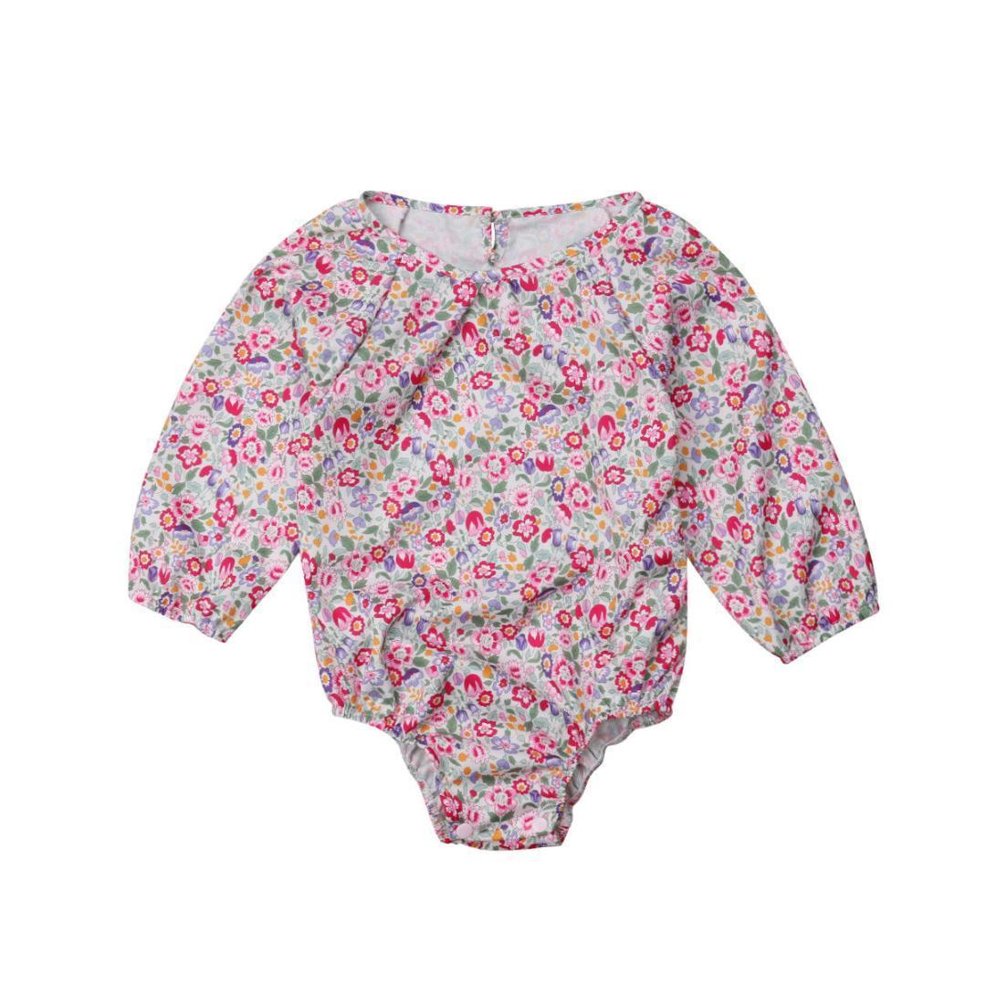 4d533368c5f9 2018 New Brand Cotton Fashion Floral Newborn Kid Baby Girl Long ...
