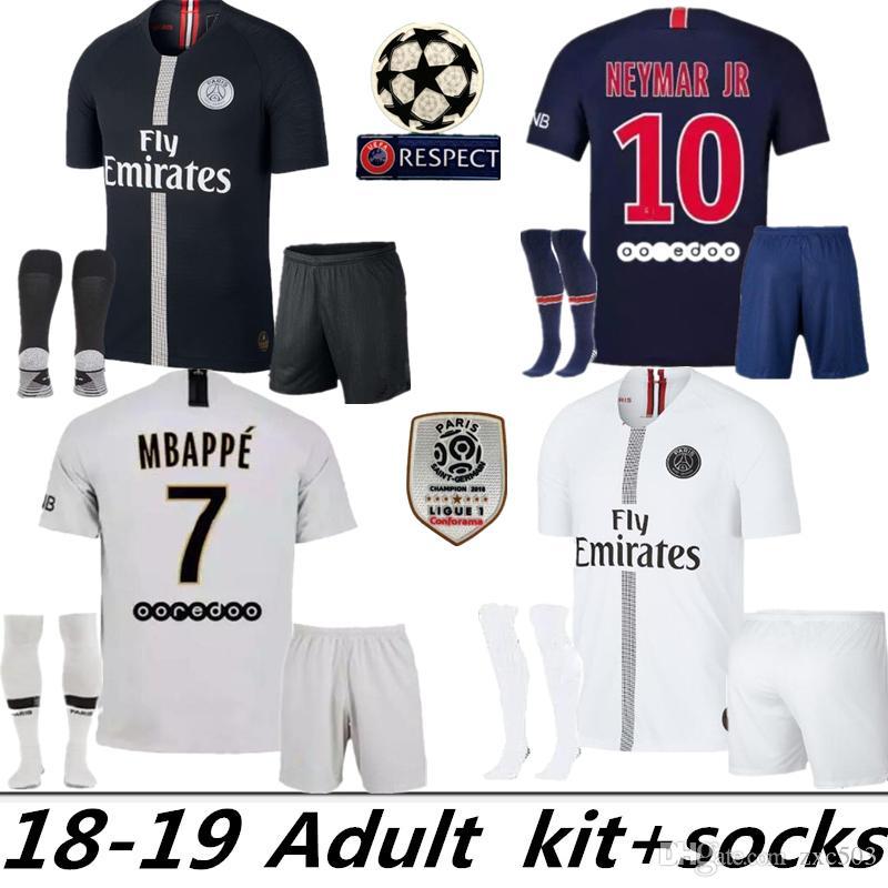 e4aa1cbe96db6 Compre Maillots De Tailandia PSG Camiseta De Fútbol 2019 París 3er Tercer  MBAPPE Saint Germain NEYMAR JR Camiseta 18 19 Survetement Camiseta De  Fútbol Kit + ...