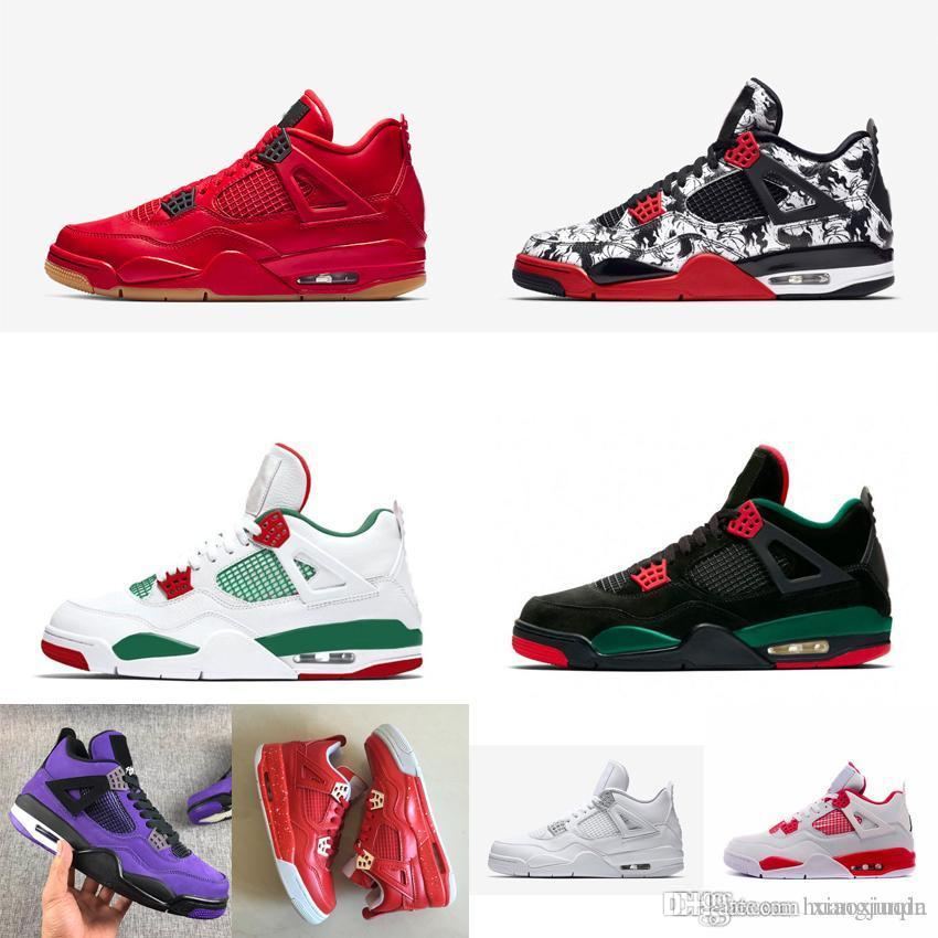 brand new e31ed 1bc0e Men retro 4s basketball shoes j4 Singles Day Red Blacks Floral Tattoo White  Green Ginger Youth Kids Jumpman IV sneakers boots with box